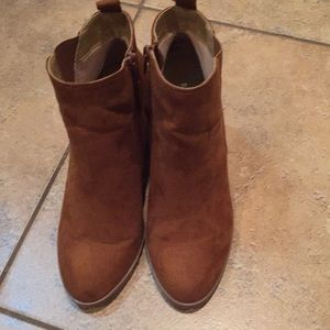 Express caramel ankle booties